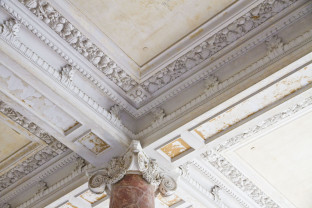Ceiling details in a heritage building undergoing renovation