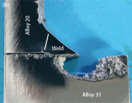 Super-Alloy sensitization - cross section through weld