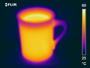 Infrared imagery of a coffee cup