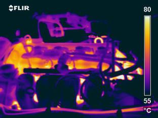 Infrared imagery of a running engine